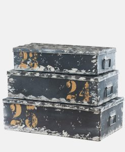 Industrial Set of 3 Storage Trunks