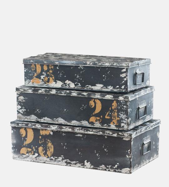 Industrial Set Of 3 Storage Trunks