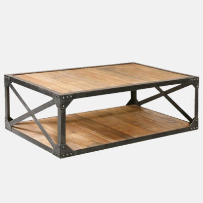 Industrial Coffee Table with Cross Bars