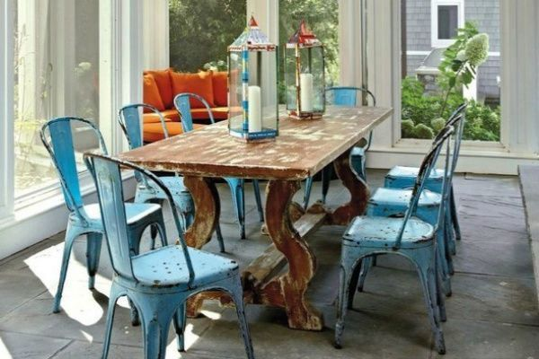 vintage industrial dining room table. 2  Blue Industrial Dining Chairs Antique Finish ada12ca6a3d0ce3ab33b66c324f97ee1 Vintage Style Furniture