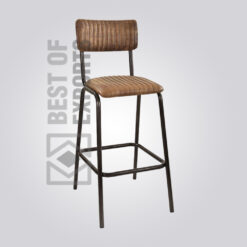 Industrial Stool with Leather Seat