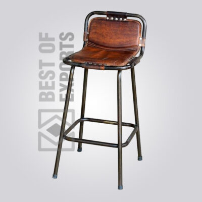 Counter Height Bar Stool With Leather Seat
