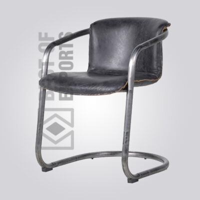 Industrial Arm Chair With Black Leather Seat