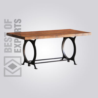 Industrial Dining Table With Round Leg Support