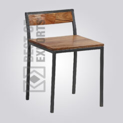 Industrial Side Chair With Wooden Seat