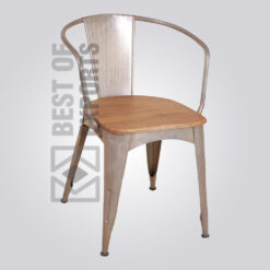 Industrial Metal Arm Chair With Wooden Seat
