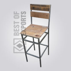 Industrial Counter Height Chair With Wooden Seat