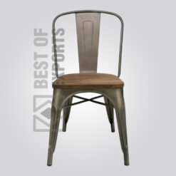 Industrial Metal Side Chair With Wooden seat