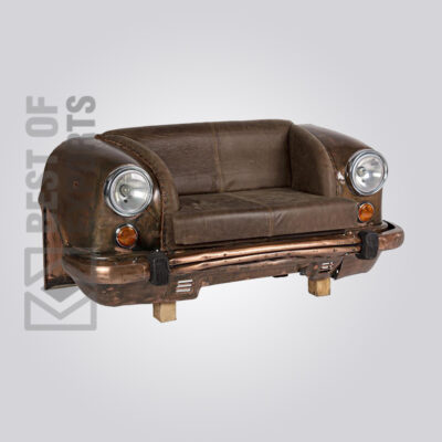 Ambassador Car Industrial Brown Leather Sofa Front