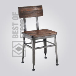 Industrial Dining Chair With Wooden Seat