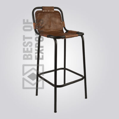 Bar Stool With Leather Seat Brown