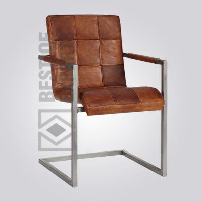 Industrial Arm Chair With Leather Seat