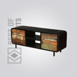Reclaimed Wood Media Cabinet With Drawer - 2