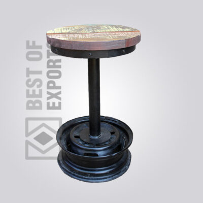 Modern Reclaimed Wood Round Stool