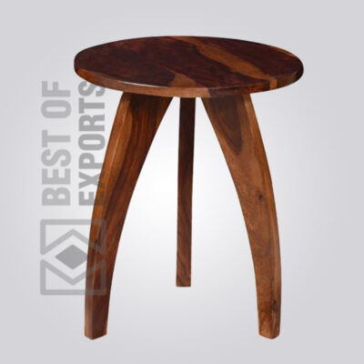 Solid Wooden Round Stool - 3