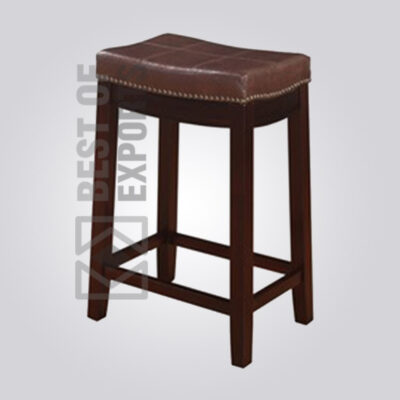 Backless Counter Stool with Brown Vinyl Seat