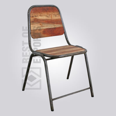 Metal Cafe Chair with wooden seat