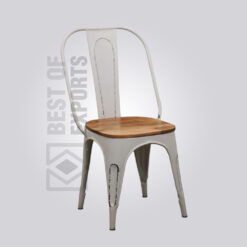 Tolix cafe chair with wooden seat