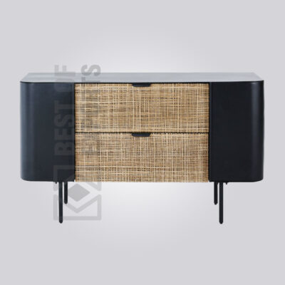 Black Cane Bar Cabinet
