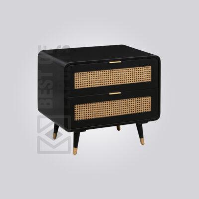 Black Cane Bedside Table