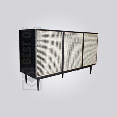 Black Cane Buffet Cabinet