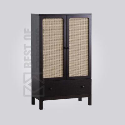 Black Rattan Cabinet