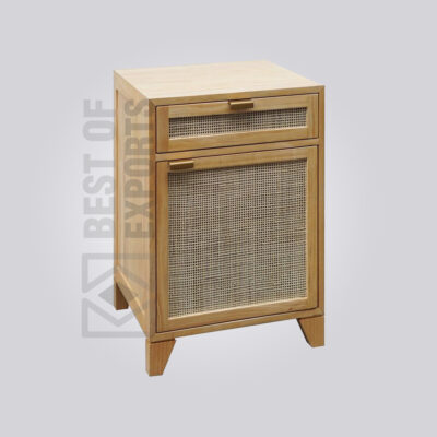 Brown Caned Bedside Table