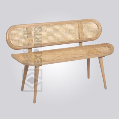 Cane Bench with Back