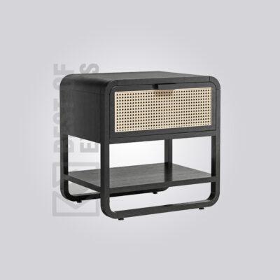 Cane Black Bedside Table