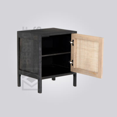 Cane Black Nightstand