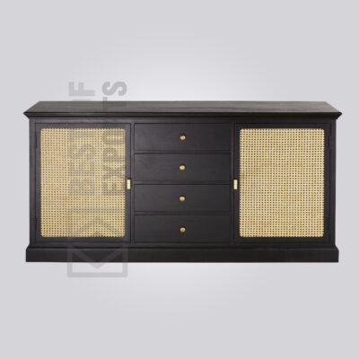 Cane Media Cabinet with Drawer