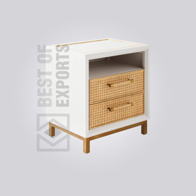 Cane White Bedside Table