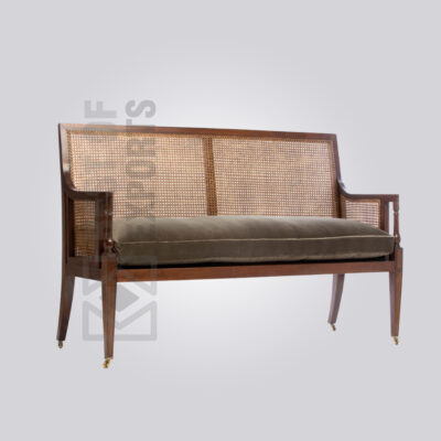 High Back Rattan Bench