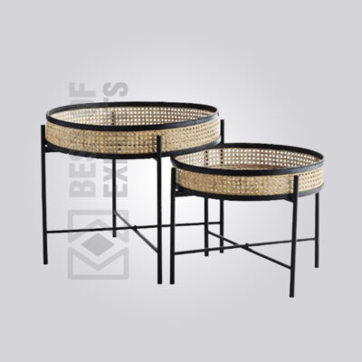 Round Cane Side Table Set