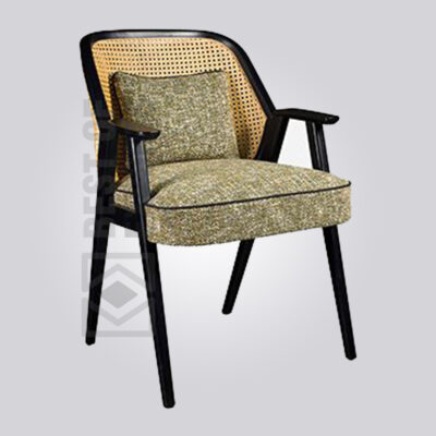 Upholstered Cane Back Armchair