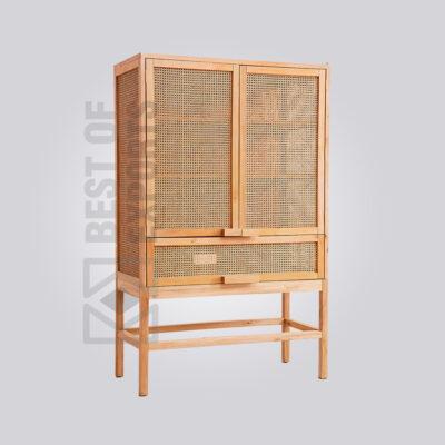 Wooden Cane Kitchen Cabinet