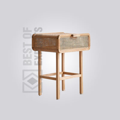 Wooden Rattan Side Table