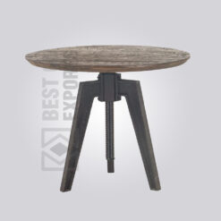 Adjustable Wooden Top Dining Table - Rustic