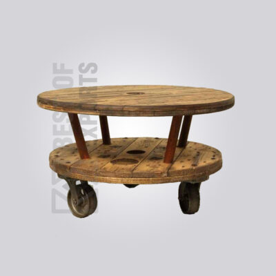 Antique Round Industrial Coffee Table with Wheels