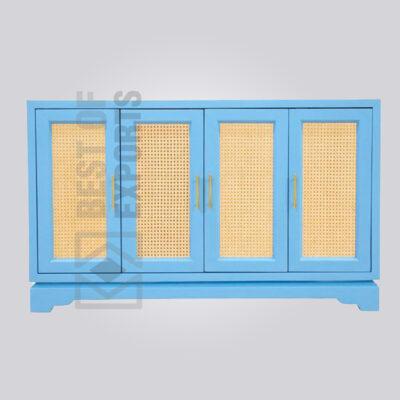 Aqua Blue Rattan Sideboard
