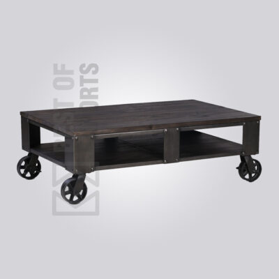 Black Industrial Storage Coffee Table with Wheels