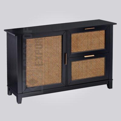 Cane Front Black Wooden Sideboard