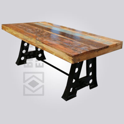 Cast Iron Reclaimed Finish Dining Table