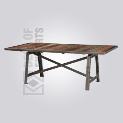 Cast Iron Reclaimed Top Dining Table