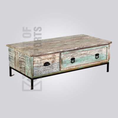 Distressed Industrial Storage Coffee Table