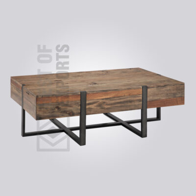Distressed Industrial Wooden Top Coffee Table