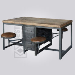 Industrial 4 seater Dining Table with Swing Stools