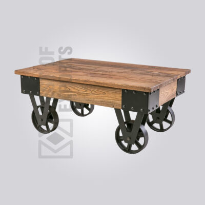 Industrial Cart Coffee Table with Wheels