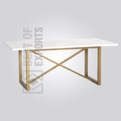 Industrial Marble Dining Table - Brass Finish