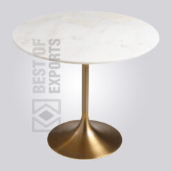 Industrial Marble Pedestal Dining Table